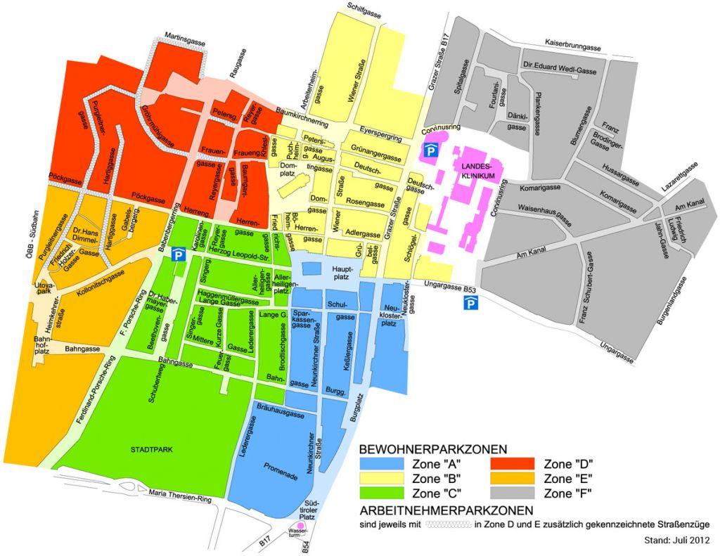 In den Wiener Neustädter Kurzparkzonen gibt es 6 sogenannte Bewohnerparkzonen: Zone A - F. (Stand Juli 2012)