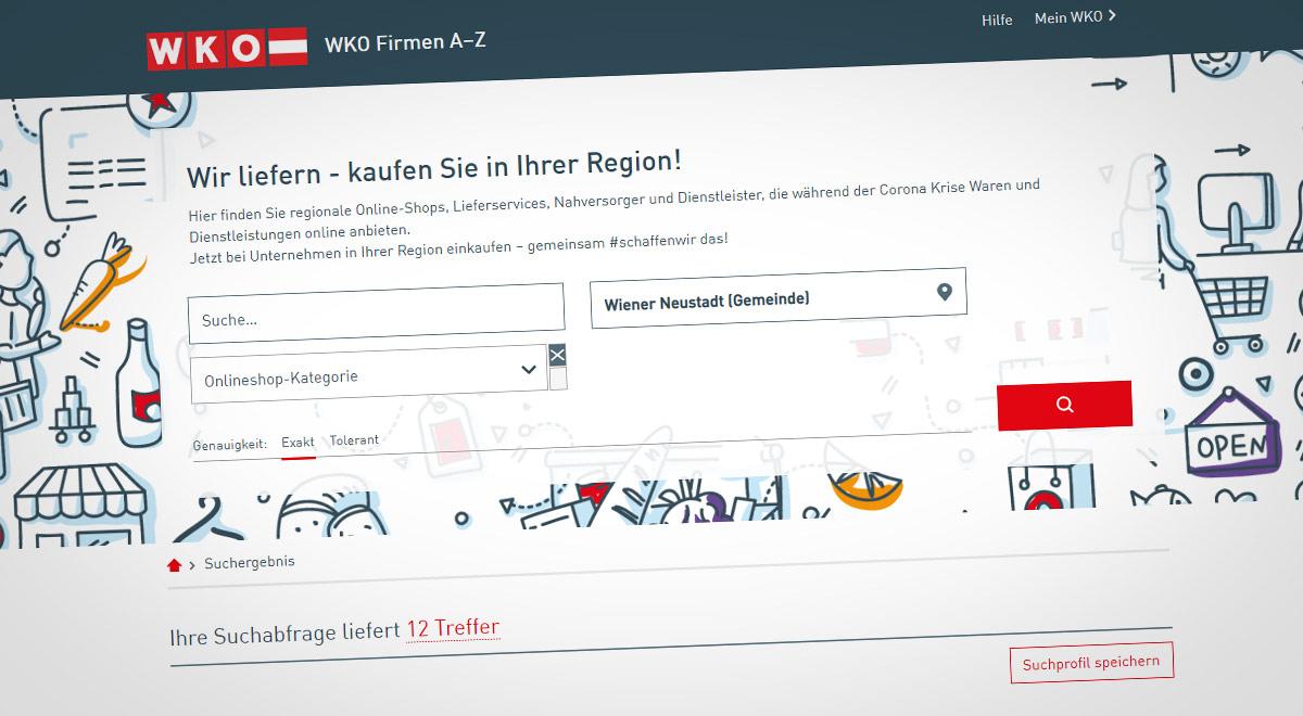 """Plattform """"regional einkaufen"""" / Foto: Screenshot firmen.wko.at"""