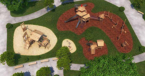 im stadtpark entsteht ein gro er kinderspielplatz. Black Bedroom Furniture Sets. Home Design Ideas