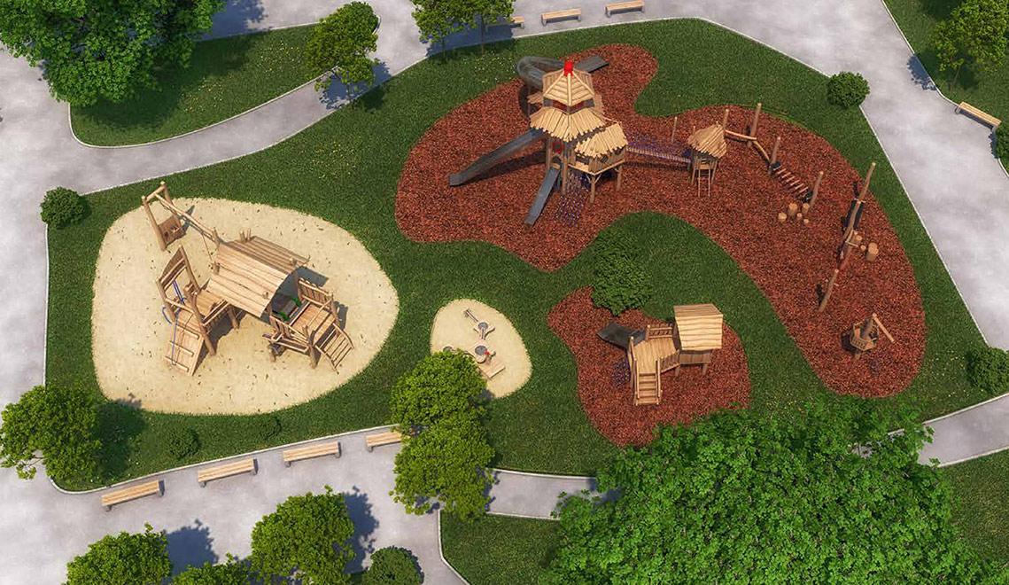 Spielplatz Vogelperspektive / Foto: Agropac
