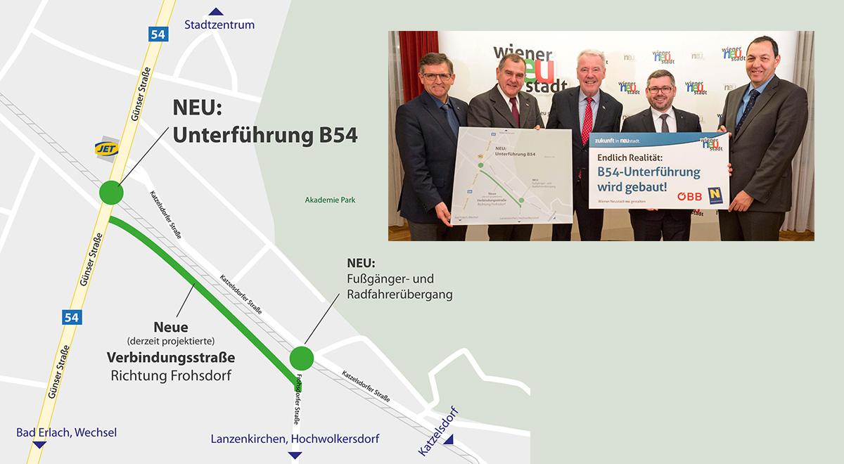 Plan Unterführung B54 / Foto: Wiener Neustadt/Weller