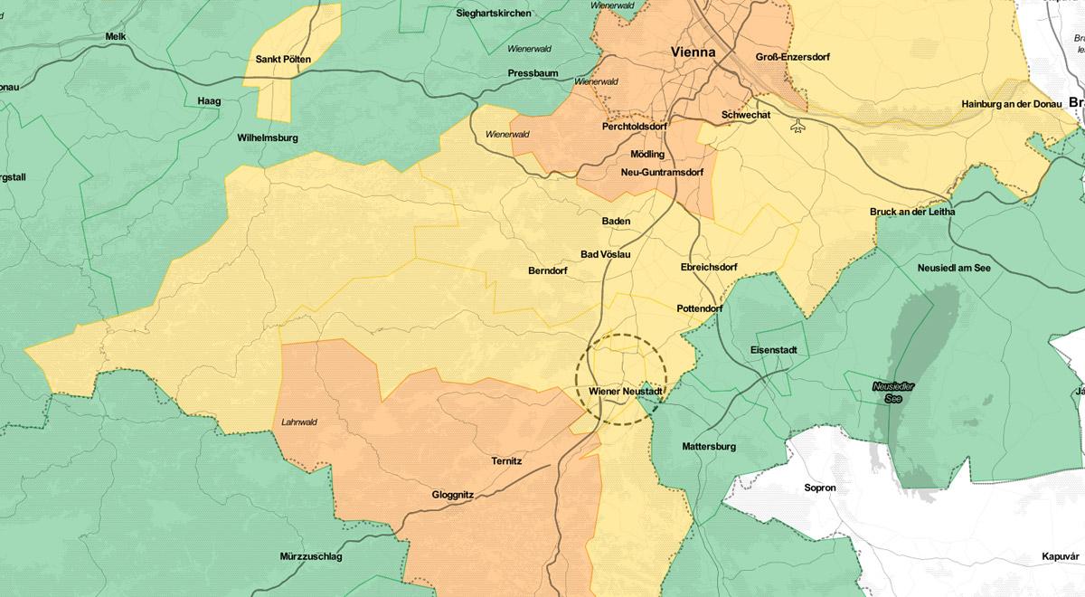 Industrieviertel September 2020 / Foto: Datenquelle: BMSGPK / Openstreet Map (CC BY 3.0)