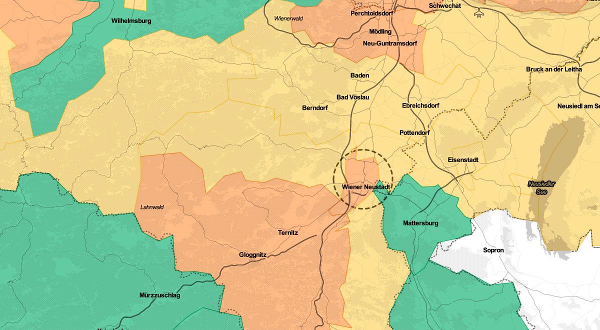 Corona-Ampel Region Wiener Neustadt / Foto: Datenquelle: BMSGPK / Openstreet Map (CC BY 3.0)