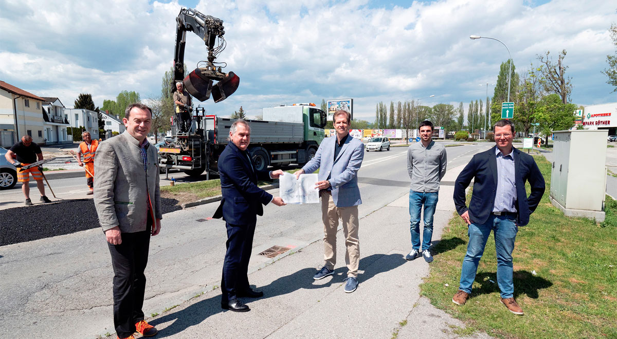 Umbau des Kreisverkehrs Giltschwertgasse / Foto: Stadt Wiener Neustadt/Weller